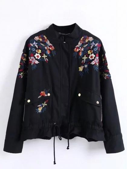 Black Embroidery Floral Ruffle Hem Long Sleeve Parka Coat