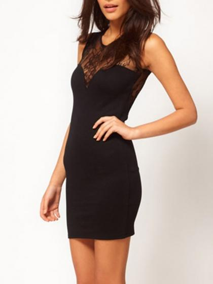 DaysCloth Black Lace Panel Sweetheart Sleeveless Bodycon Dress