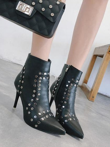 Black Studs Detail Pointed Toe Heeled Ankle Boots