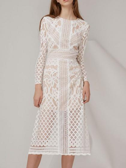 White Lace Overlay Long Sleeve Midi Dress