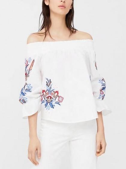 DaysCloth White Stretch Off Shoulder Embroidery Detail 3/4 Sleeve Blouse