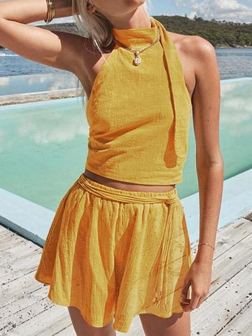 Yellow Knit Halter Tie Back Open Back Top And High Waist Shorts