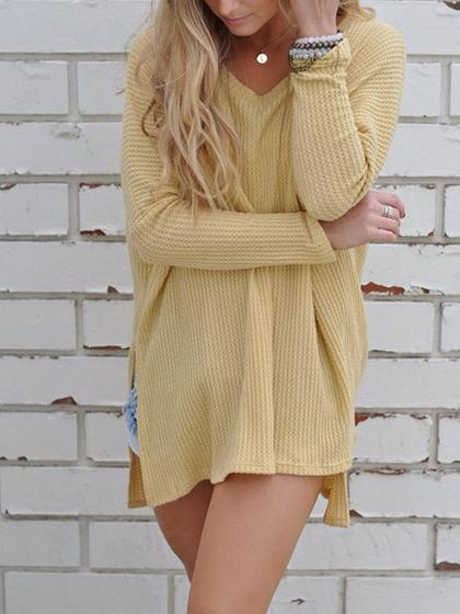 Simple Oversize Casual Solid Color Yellow Sweater