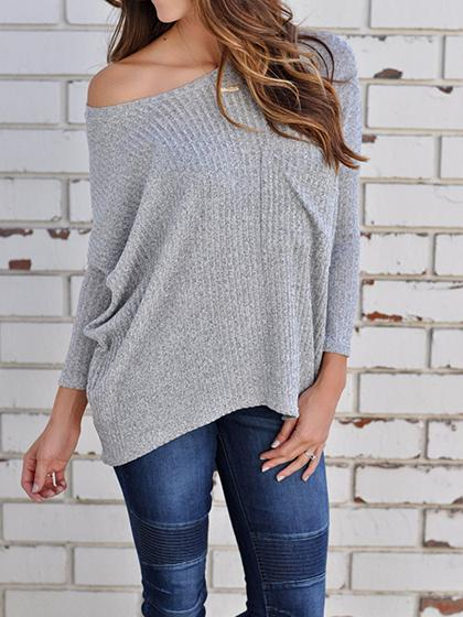 DaysCloth Stylish Oversize One Shoulder Solid Color Sweater