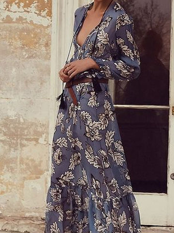 Blue Floral Plunge V-neck Ruffle Hem Long Sleeve Maxi Dress