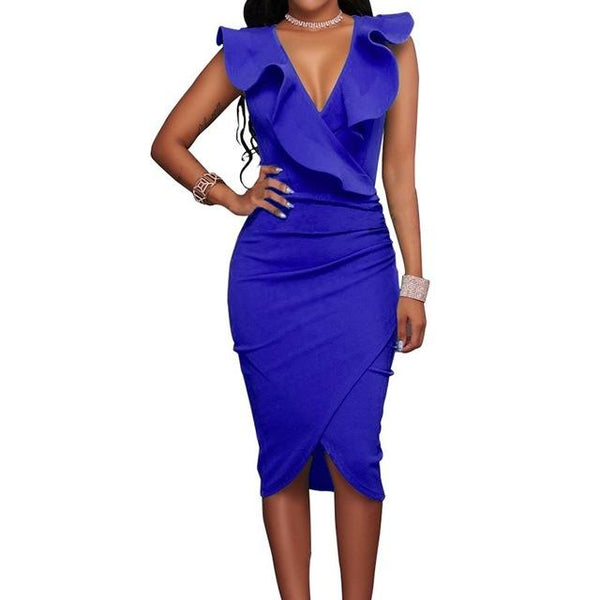 Summer Sexy V-neck Sleeveless Strapless Slim Dress