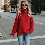 Casual Solid Turtleneck Sweater Warm Vintage Loose Long Sleeve Knitted Pullover Sweaters