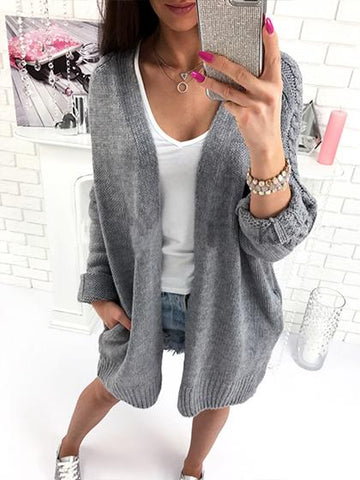 DaysCloth Fashion Open Collar Daily Solid Color Cardigan