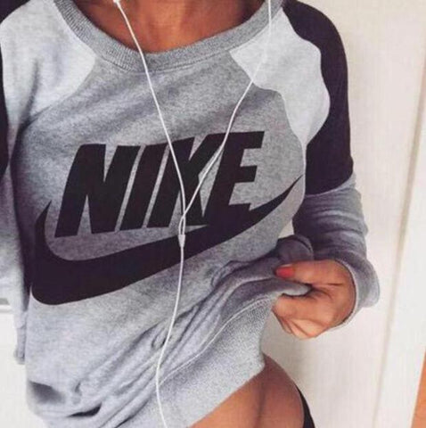 "DaysCloth Fashion Letter Print Round Neck Top Pullover Sweater ""Nike"" Sweatshirt"