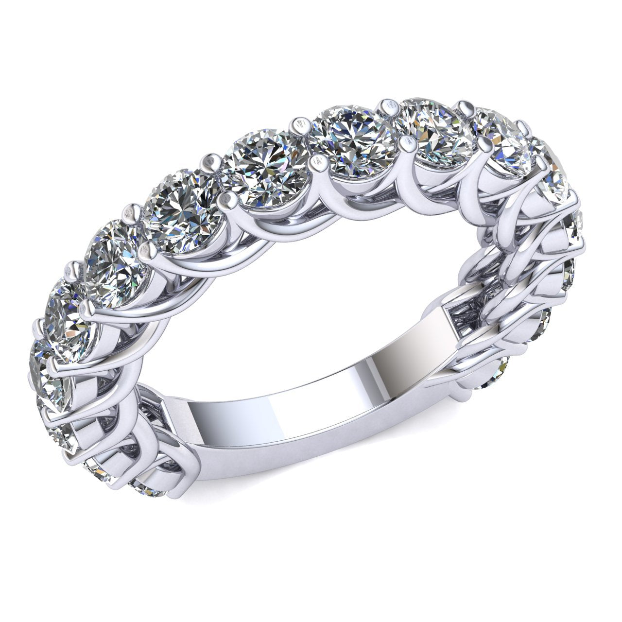 3.30 Ct Round Natural GH I1 Diamond Woven Prong Wedding Ring Women's Eternity Band with Sizing Bar Set in 14k Gold