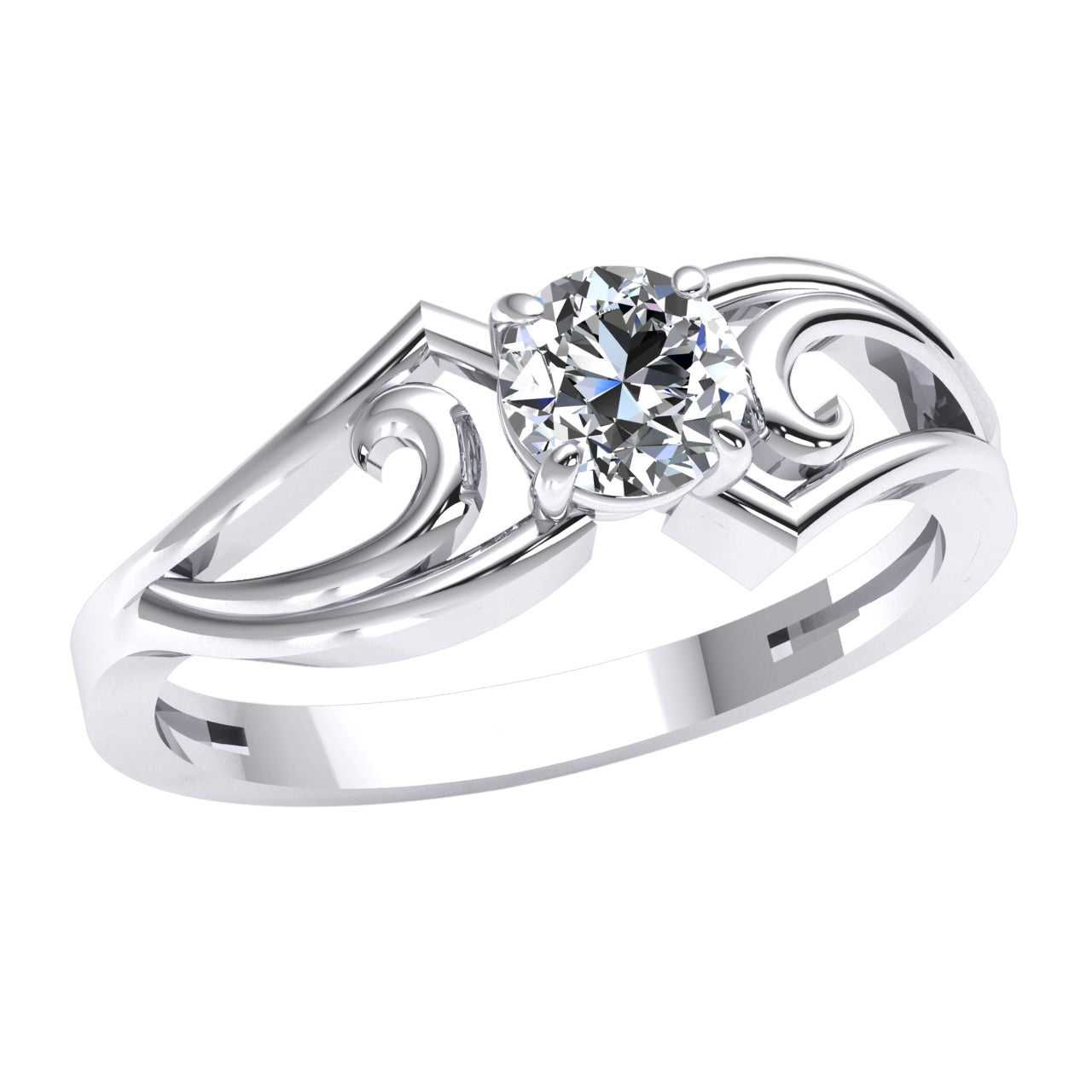 0.40 Ct Round Cut Natural FG VS2 Diamond Offset Swirl Solitaire Engagement Ring in 950 Platinum