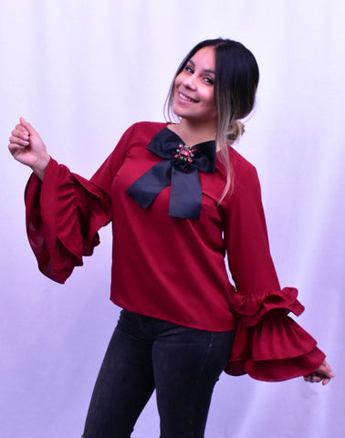 Ruffle Sleeve Blouse W/ Bow Tie