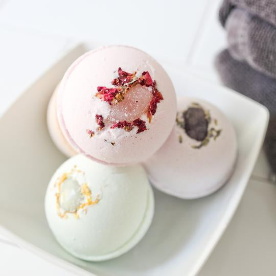 Rose Quartz + Ho Wood Gemstone Bath Bomb