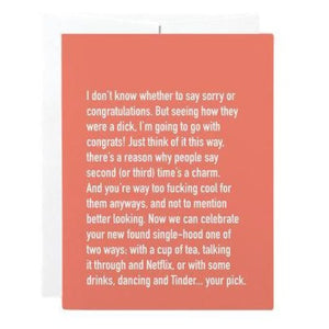 Breakup/Divorce Card - I Don't Whether To Say Sorry Or Congratulations