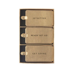 Set/3 Luggage Tags - Gold Shimmer