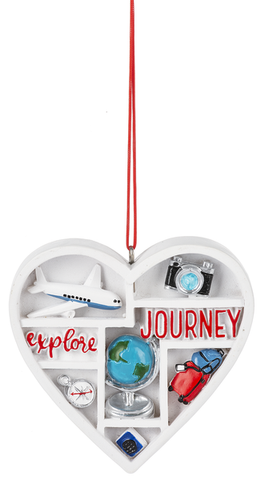 Love To Travel Heart Ornament