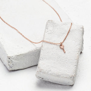 Believe Mini Key Necklace Rose Gold