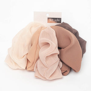 Crepe Hair Scrunchies Terra Cotta Set/5