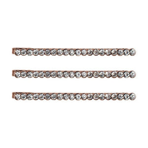 Rhinestone Bobby Pins Rose Gold Set/3
