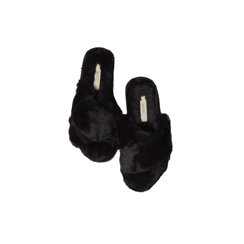 Faux Fur Slipper Black Sesame