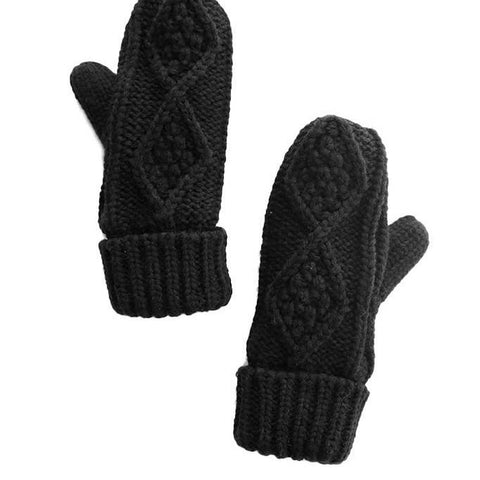 Fleece Lined Cable Knit Mittens Black