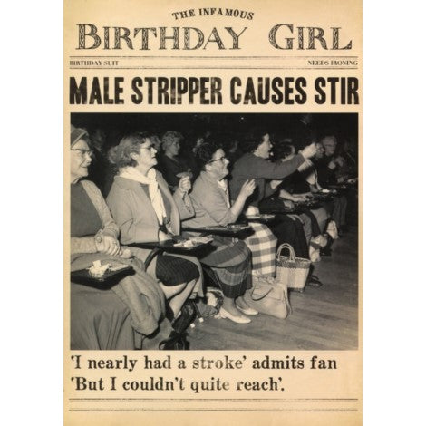 Male Stripper Birthday Card