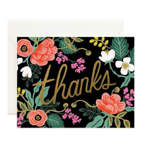 Birch Floral Thanks Card