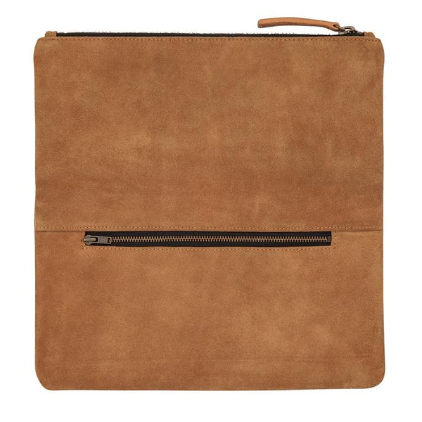 Feel The Night Suede Clutch Tan