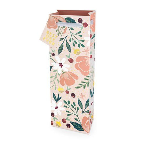 Wine Gift Bag Floral Best Day Ever