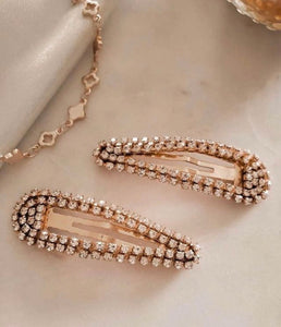 Rhinestone Snap Clips Rose Gold Set/2