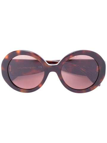 Brown acetate mini stud round frame sunglasses