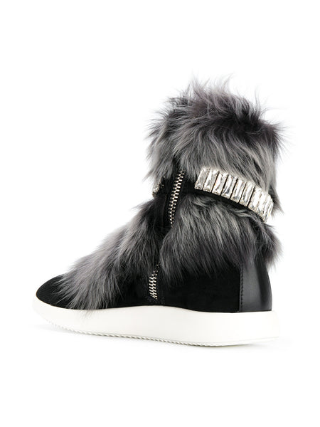 Marley fur and crystal hi-top sneakers