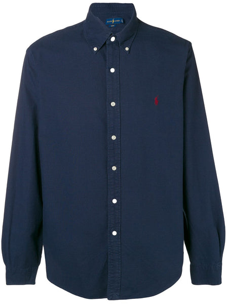 Logo embroidered button-down shirt