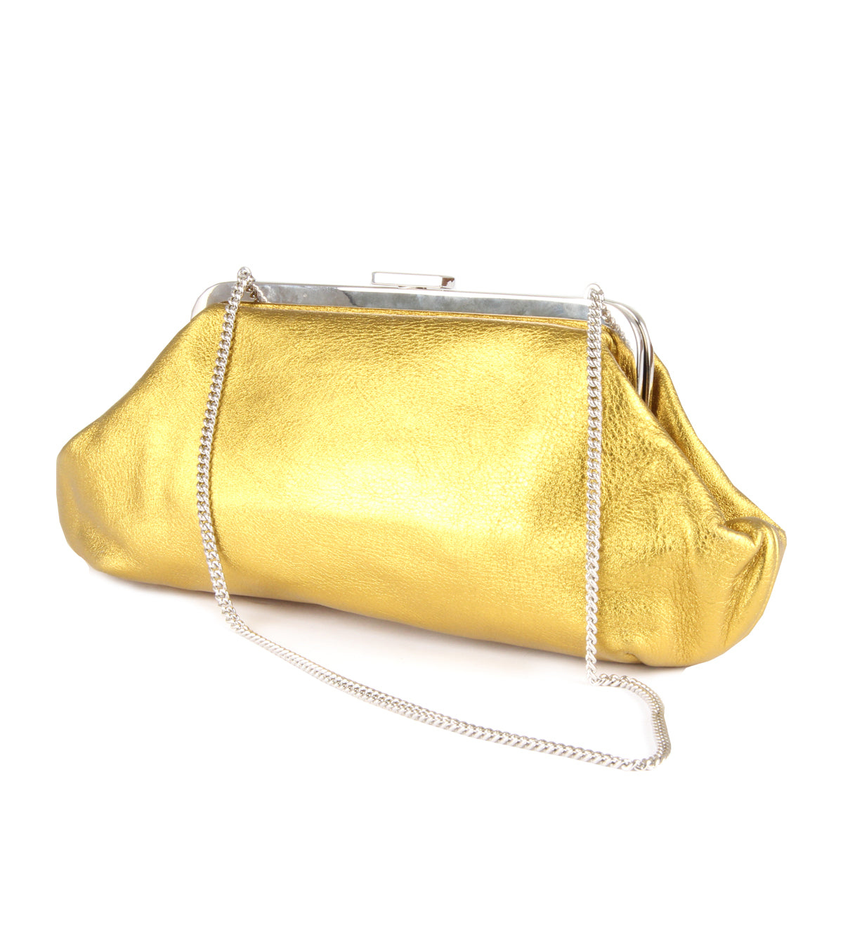 Yellow chain clutch bag