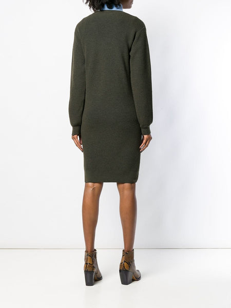 Panelled tie jumper dress