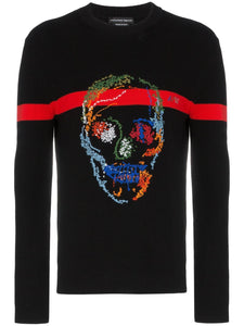 Skull embroidered intarsia jumper
