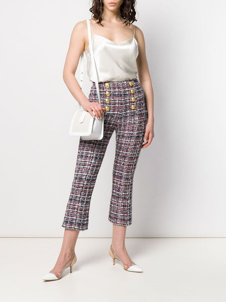Balmain Button-front tweed trousers