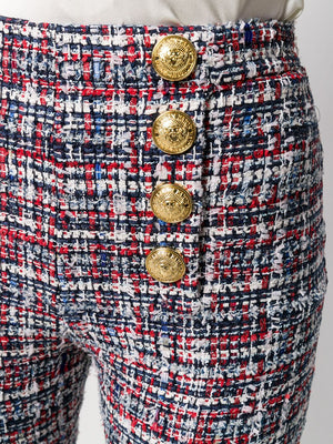 Button-front tweed trousers