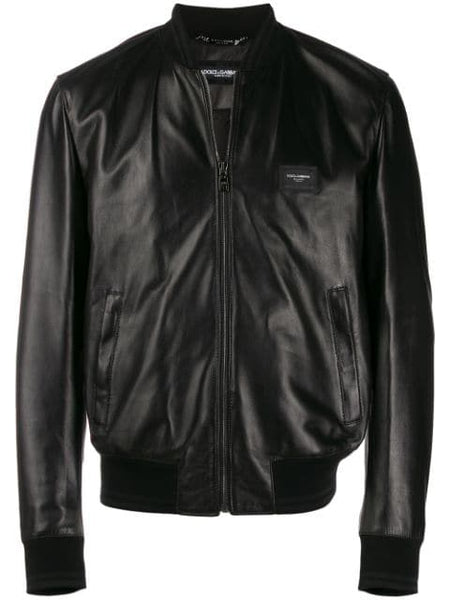 Bomber-style leather jacket