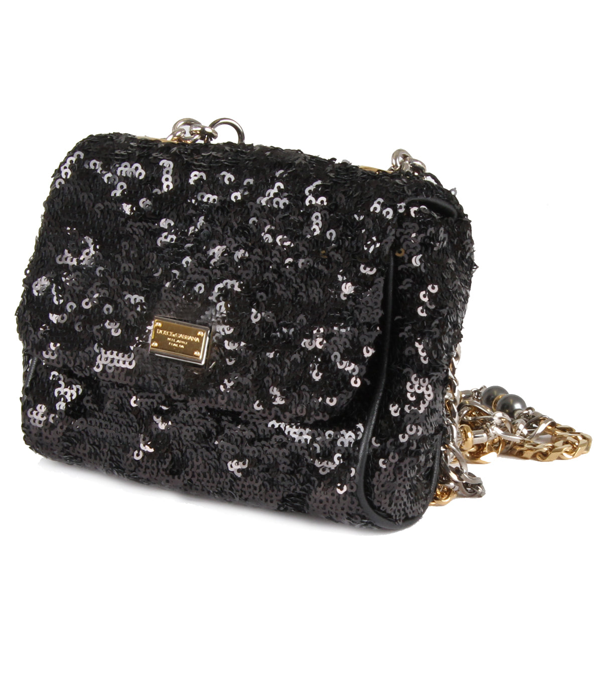 Small sequin embellished chain strap bag