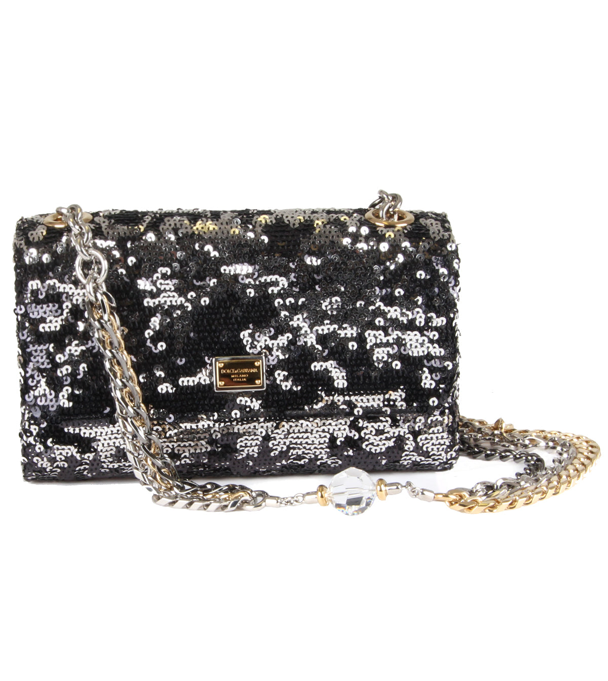 Sequin embellished chain strap bag