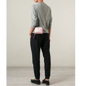 Pink calf leather 'Luisa' small quilted shoulder bag