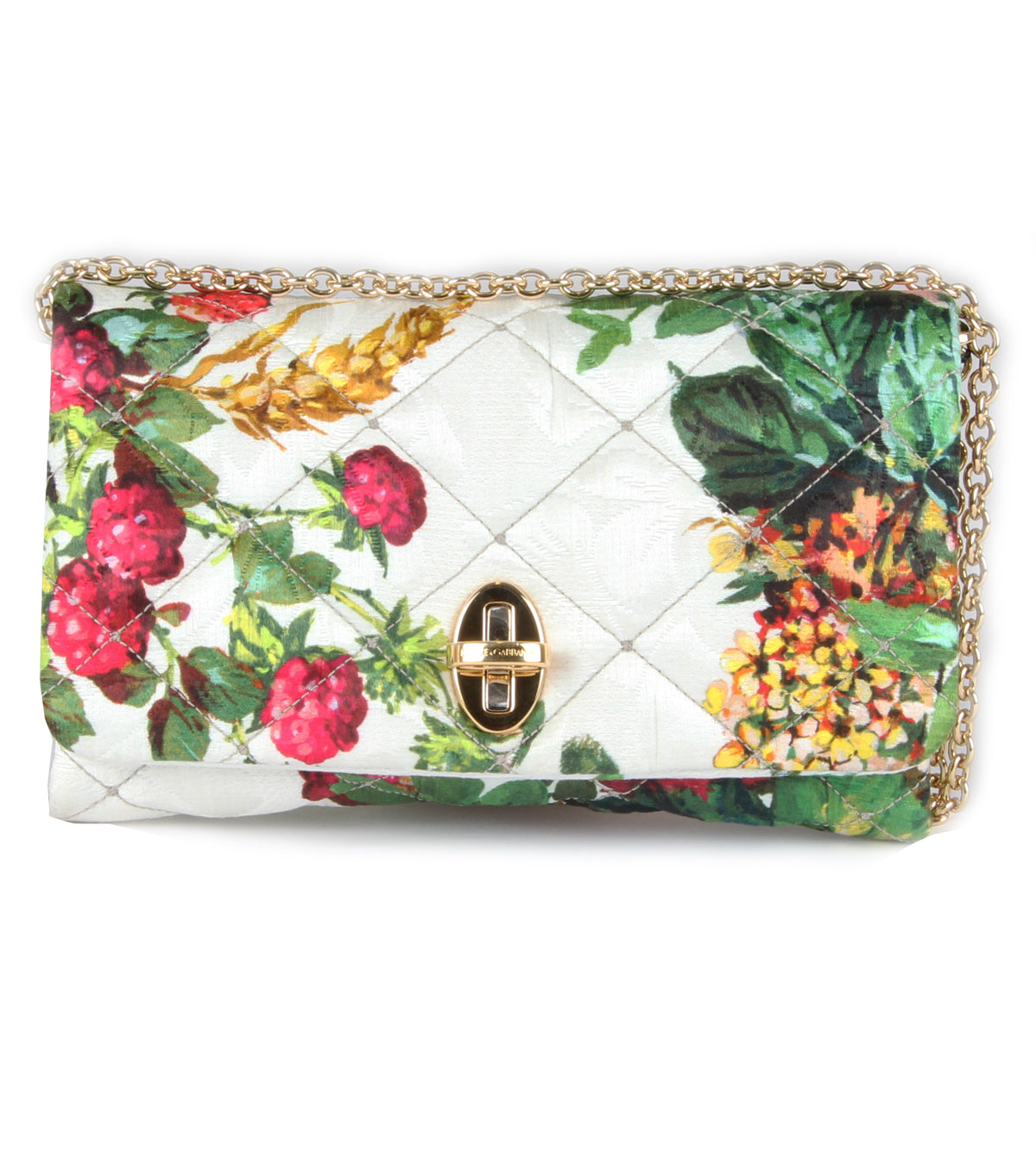 Fruit & floral print brocade clutch bag