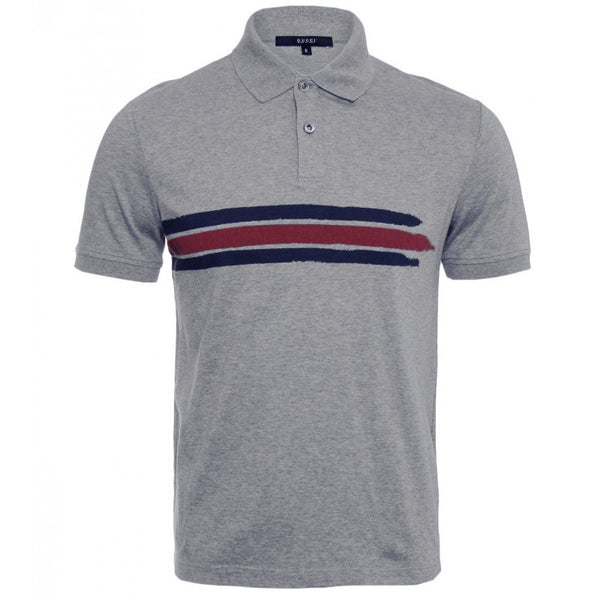 Grey short sleeved cotton polo shirt