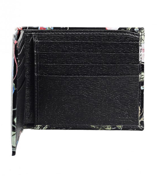 Black leather Flora Knight Bi-Fold Wallet