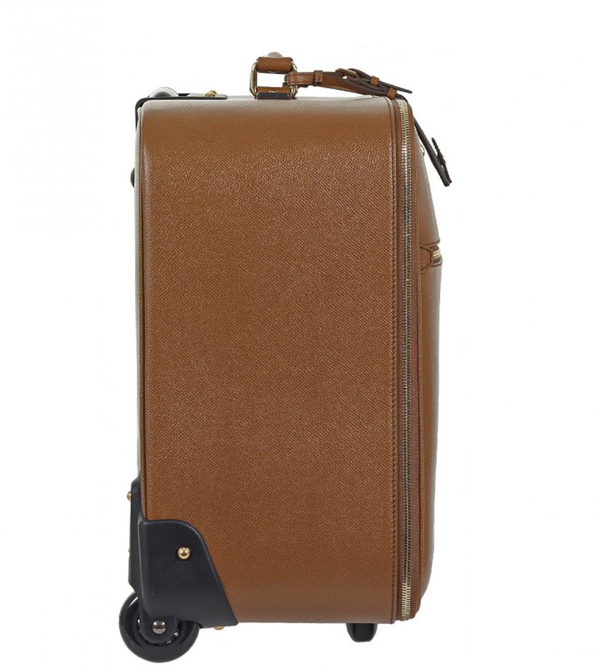 Brown textured leather carry on trolley