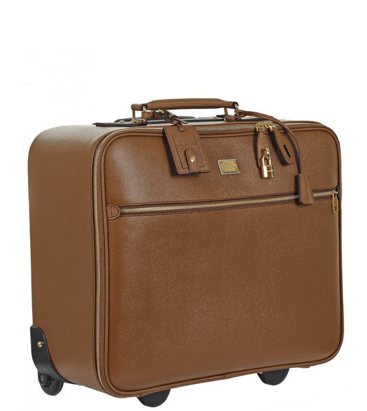 Dolce & Gabbana Brown textured leather carry on trolley