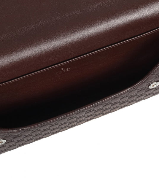 Dark brown leather Microguccissima travel document case