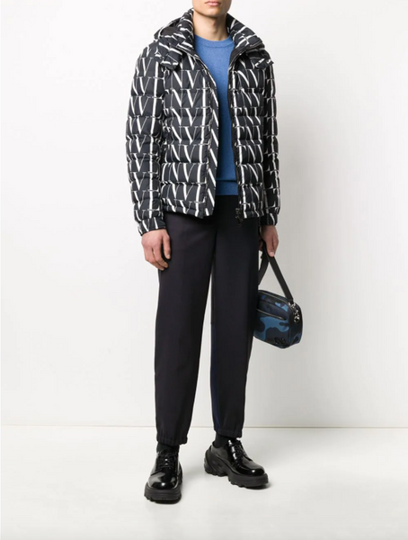 Valentino VLTN print hooded down jacket