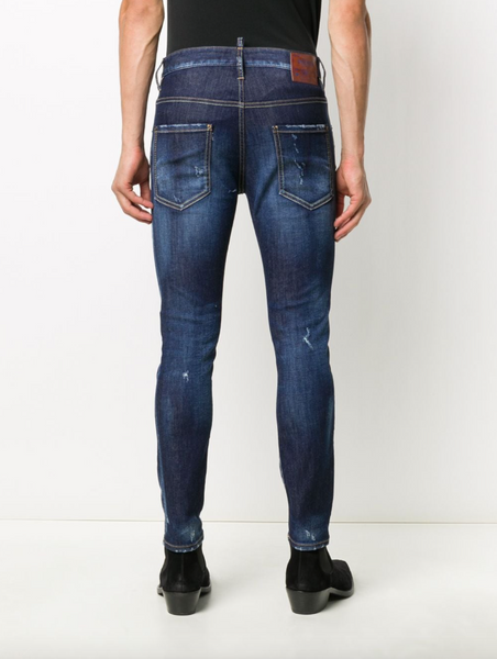 Ripped mid-rise skinny jeans